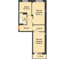 2 комнатная квартира 67 м², ЖК GEO (ГЕО) - планировка