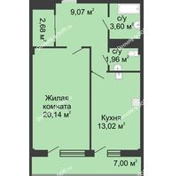 1 комнатная квартира 50,8 м² в  ЖК РИИЖТский Уют, дом Секция 1-2 - планировка