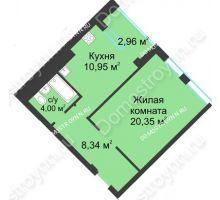 1 комнатная квартира 45,12 м² в ЖК Воскресенская слобода, дом №1 - планировка
