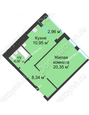 1 комнатная квартира 45,12 м² в ЖК Воскресенская слобода, дом №1