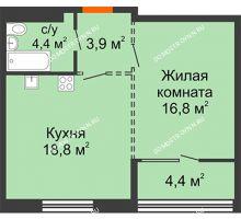 1 комнатная квартира 46,1 м², ЖК Лайнер на Барминской - планировка