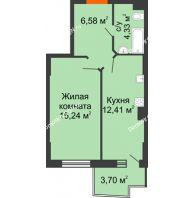1 комнатная квартира 39,67 м² в ЖК Сердце Ростова 2, дом Литер 1 - планировка