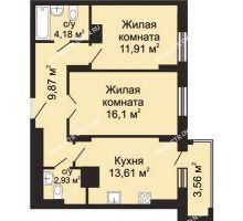 2 комнатная квартира 60,38 м², ЖК Гелиос - планировка