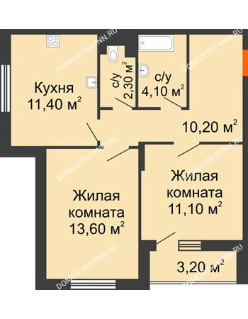 2 комнатная квартира 54,3 м² в ЖК Цветы, дом № 6-2
