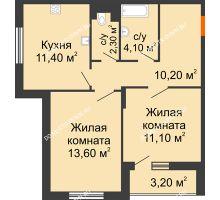 2 комнатная квартира 54,3 м² в ЖК Цветы, дом № 6-2 - планировка