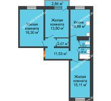 3 комнатная квартира 76,57 м² в ЖК Мончегория, дом № 5 - планировка