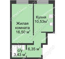 1 комнатная квартира 36,81 м² в ЖК Солнечный, дом д. 161 А/1 - планировка