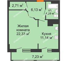 1 комнатная квартира 53,83 м² в ЖК Покровский, дом № 1 - планировка