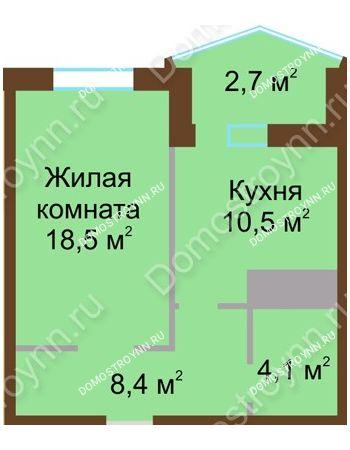 1 комнатная квартира 44,2 м² в ЖК Монолит, дом № 89, корп. 1, 2