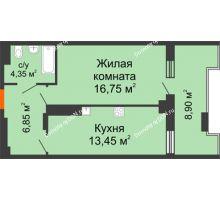 1 комнатная квартира 50,5 м² в ЖК Симфония, дом 3 этап - планировка