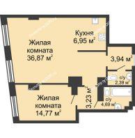 2 комнатная квартира 72,84 м², ЖК Гранд Панорама - планировка