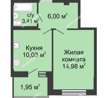 1 комнатная квартира 36,6 м² в ЖК Соловьиная роща, дом № 1 - планировка