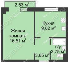1 комнатная квартира 33,69 м² в ЖК Тридесятое, дом № 23 - планировка