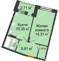 1 комнатная квартира 37,22 м² в ЖК Мандарин, дом 2 позиция 5-8 секция - планировка