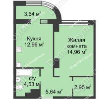 1 комнатная квартира 42,88 м² в ЖК Караваиха, дом № 5 - планировка