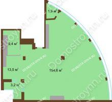1 комнатная квартира 182,6 м² в ЖК Монолит, дом № 89, корп. 1, 2 - планировка