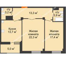 2 комнатная квартира 76,3 м² в ЖК Квартет, дом № 3 - планировка