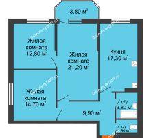 3 комнатная квартира 85,4 м² в ЖК Три Сквера (3 Сквера), дом № 31 - планировка