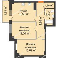 2 комнатная квартира 55,34 м² в ЖК Аврора, дом № 2 - планировка