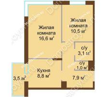 2 комнатная квартира 48,95 м² в ЖК НОВИНКИ Smart City, дом № 21
