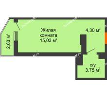 Студия 23,86 м² в ЖК Семейный парк, дом Литер 2 - планировка
