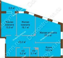 3 комнатная квартира 106,2 м², Жилой дом: ул. Почаинская д. 33 - планировка