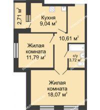 2 комнатная квартира 54,59 м², ЖК Волжский-Берег - планировка
