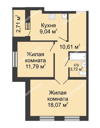 2 комнатная квартира 54,59 м² - ЖК Волжский-Берег