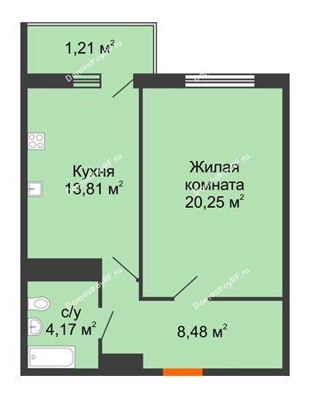 1 комнатная квартира 48,73 м² в ЖК Фамилия, дом Литер 1