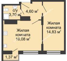 2 комнатная квартира 40,58 м², ЖК Соборный - планировка