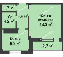 1 комнатная квартира 40,8 м² в ЖК На Победной, дом № 3