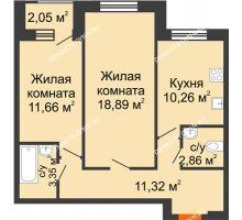 2 комнатная квартира 58,83 м² - Дом на Чаадаева