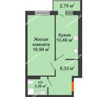 1 комнатная квартира 40,54 м² в ЖК Артемовский квартал, дом Секция 4 - планировка