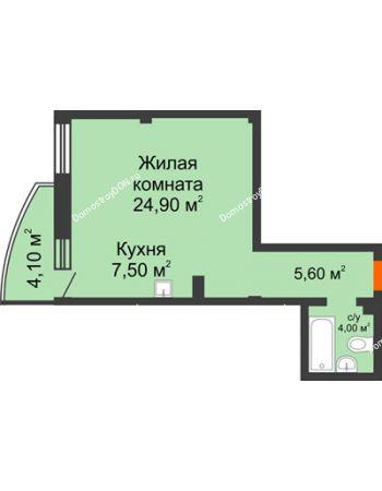 1 комнатная квартира 43,2 м² - ЖК Южная Башня