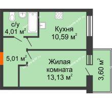 1 комнатная квартира 33,82 м² в ЖК Южный бульвар, дом №14 - планировка