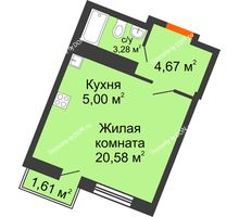 Студия 28,53 м² в ЖК Мечников, дом ул. Мечникова, 37 - планировка