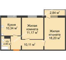 2 комнатная квартира 54,16 м² в ЖК Торпедо, дом № 19 - планировка