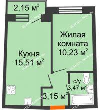 1 комнатная квартира 33,69 м² в ЖК Ватсон, дом № 3А - планировка