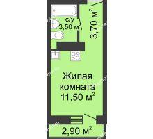 Студия 19,57 м² в ЖК Корабли, дом № 11 - планировка