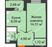 1 комнатная квартира 34,77 м² в ЖК Москва Град, дом 60/1 - планировка