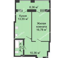 1 комнатная квартира 53,15 м² в ЖК Тихий Дон, дом № 2 - планировка
