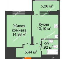 1 комнатная квартира 39,51 м² в ЖК Маленькая страна, дом № 4 - планировка