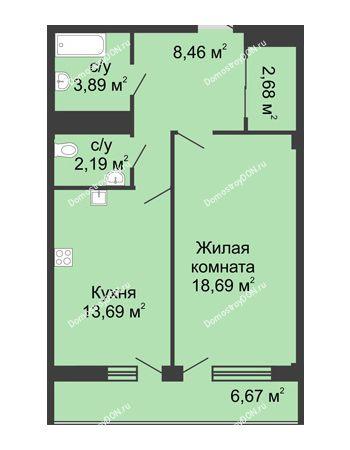 1 комнатная квартира 51,7 м² в  ЖК РИИЖТский Уют, дом Секция 1-2