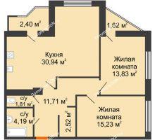 2 комнатная квартира 89,84 м² в Микрорайон Красный Аксай, дом Литер 21