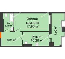 1 комнатная квартира 49,65 м² в ЖК Симфония, дом 3 этап - планировка