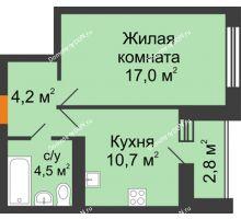 1 комнатная квартира 37,8 м² в ЖК Южный Берег, дом Литер 6 - планировка