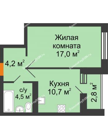 1 комнатная квартира 37,8 м² в ЖК Южный Берег, дом Литер 6