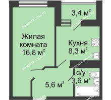 1 комнатная квартира 36 м² в ЖК Цветы, дом № 11 - планировка