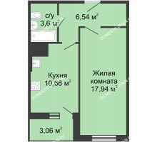 1 комнатная квартира 41,8 м² в ЖК Красная поляна, дом №3