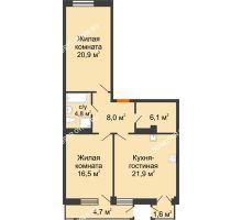 2 комнатная квартира 80,32 м² в ЖК Георгиевский, дом 6 - планировка